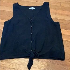 Madewell button tank top with tie